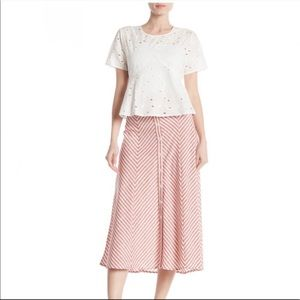 New Max Studio striped button front skirt